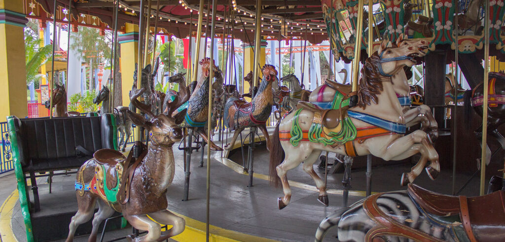 A century-old Dentzel carousel still swirls.