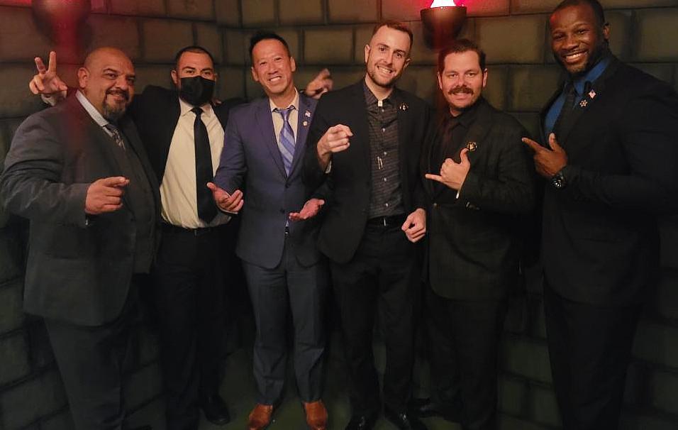 (From left to right) Joey Martinez, Eduardo Herrera, Alex Huang, Frankie Foti, Derek Hubb Irwin, and Scotty Southwell.