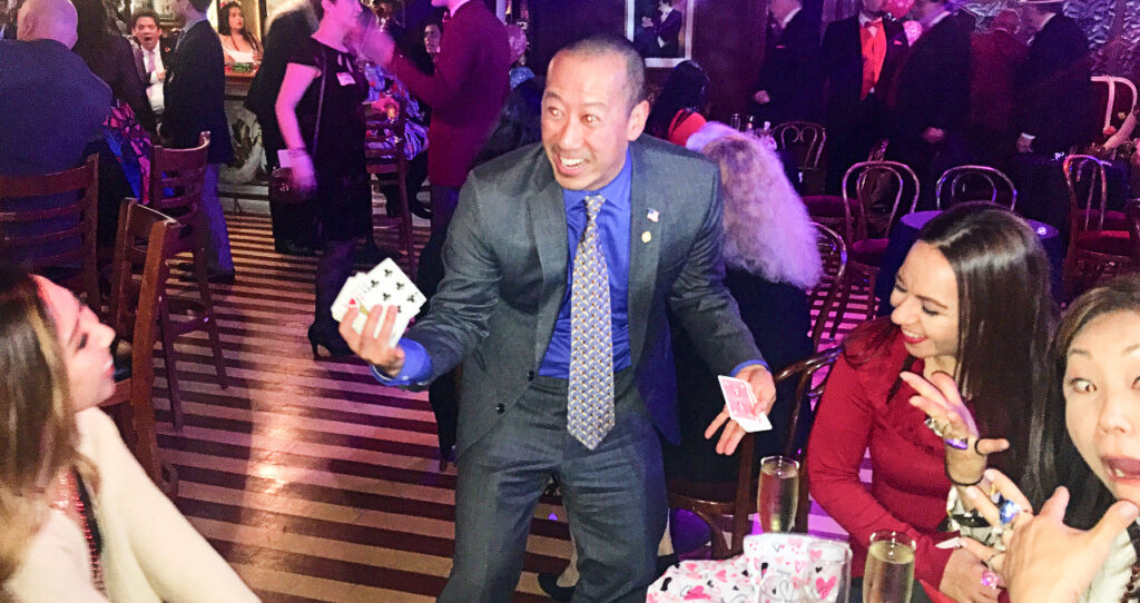 Huang entertaining the wonderful guests at the world-famous Magic Castle.