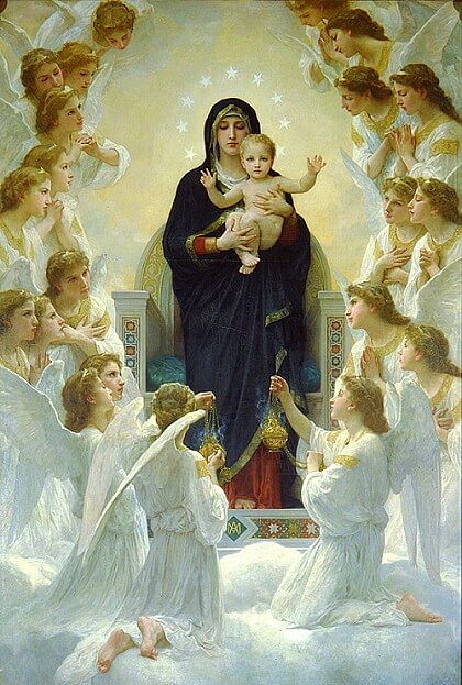 Virgin Mary surrounded by angels.